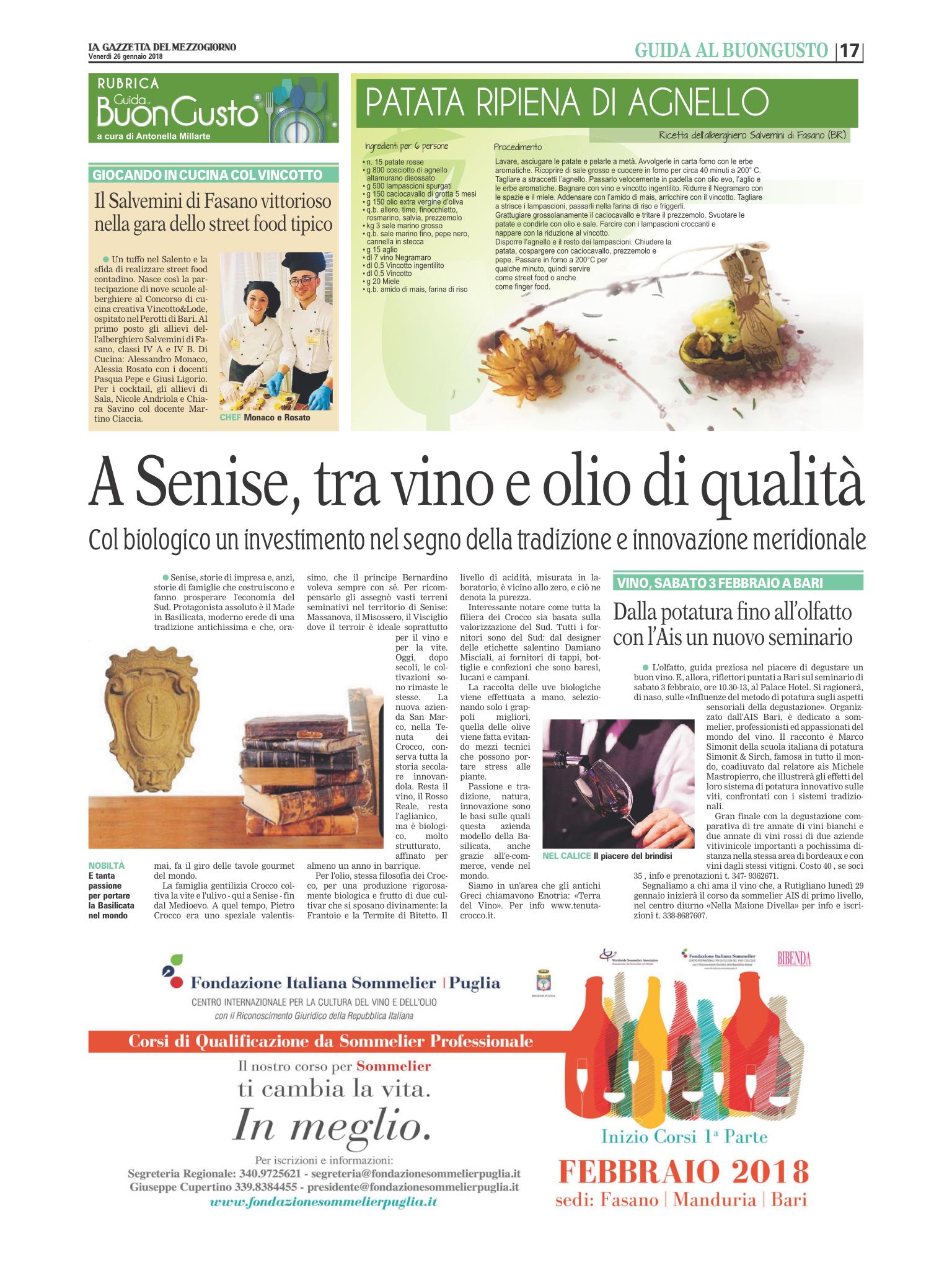 articolo Gazzetta del Mezzogiorno su Azienda San Marco