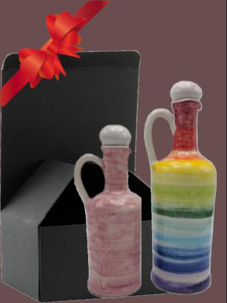 Coppia Anforette Olio bio (lt. 0,50 e O,25) in ceramica lavorata a mano by Rosafuria