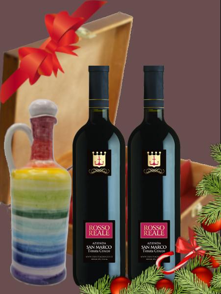 Due bottiglie vino con anforetta olio grande